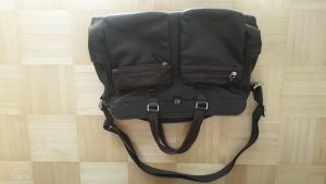 Borsa pc marrone-nero-carminio Pelle