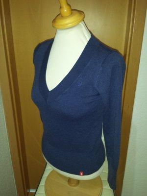 hübscher dunkel violetter Pullover, V-Ausschnitt, von edc, Gr. S / M