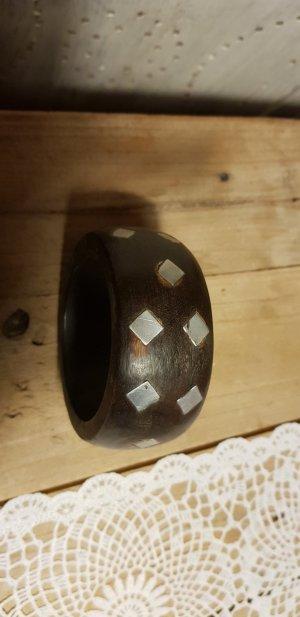 Braccialetto marrone-argento Legno