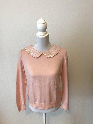 Hübscher Pullover mit Pailletten-Kragen