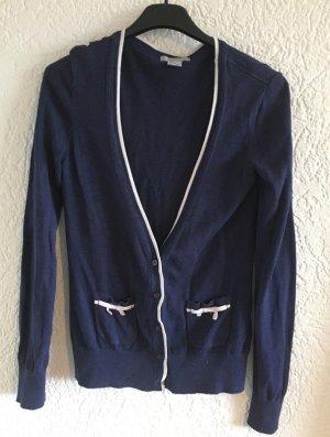 Hübscher schleifencardigan von h&m gr. S dunkelblau weiss strick häckel hekel
