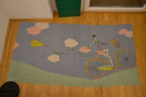 hübscher sommerlicher Schal mit Fahrrad-Motiv