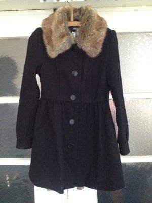 H&M Abrigo corto negro-marrón claro Lana