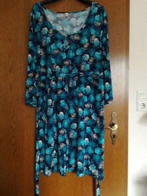 Robe tunique bleu foncé-bleu cadet viscose