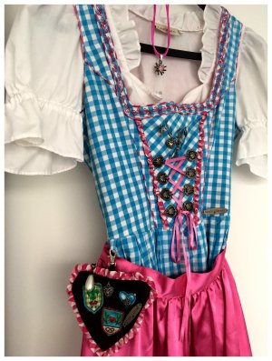 ** Hübsches DIRNDL in blau-weiß & pink **