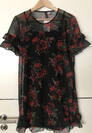 H&M Robe chiffon noir-rouge