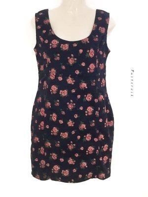 Hübsches Jeanskleid Kurz mit Rosenmuster Muster Kleid Blumen Rosen Denim