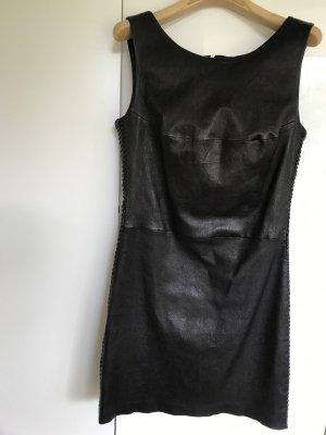 Hübsches Kleid aus Lammleder in Dunkelbraun