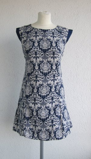 Stretch Dress dark blue-white polyester