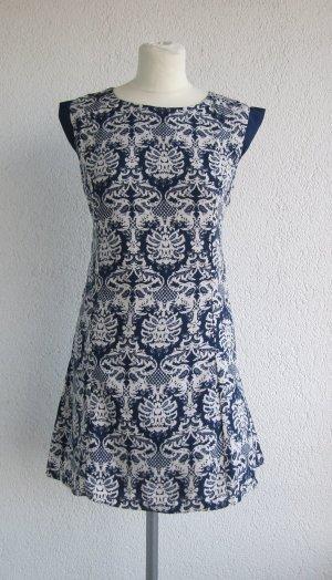 Stretch Dress dark blue-white polyester