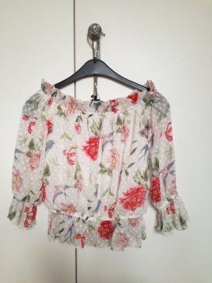 H&M Ruffled Blouse white-raspberry-red
