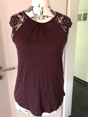 H&M Top en maille crochet brun rouge