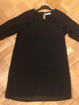 Hübsches schwarzes Chiffon-Kleid, kurz, mit langen Ärmeln, Gr. M (34/36/38), NEU ohne Etikett