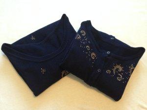 Cárdigan de punto azul oscuro-azul