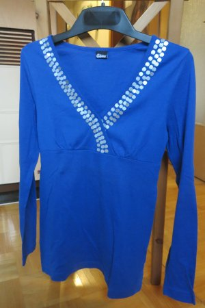 Chillytime V-Neck Shirt blue-silver-colored cotton