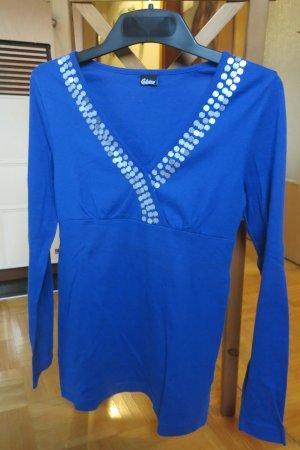 Chillytime V-hals shirt blauw-zilver Katoen