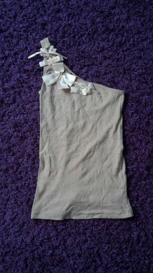 One Shoulder Top beige cotton