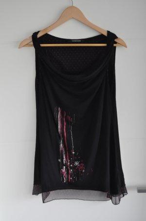 Votre Mode Top collo ad anello nero-rosso scuro Cotone