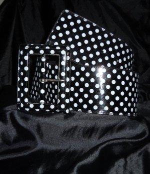 Hüft Gürtel Punkte Neu Rockabilly Taille h m schwarz weiß Retro breit Polka Dots