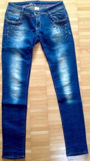 Hüft-Stretch Jeans blau/washed