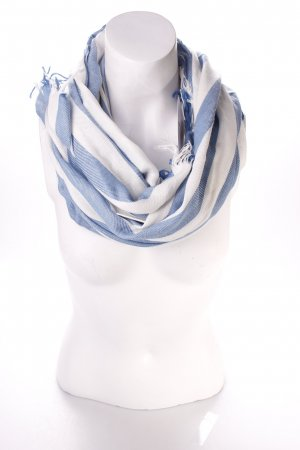 Hüftgold Fringed Scarf natural white-cornflower blue striped pattern navy look