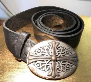 Hüftgold Leather Belt black-silver-colored leather