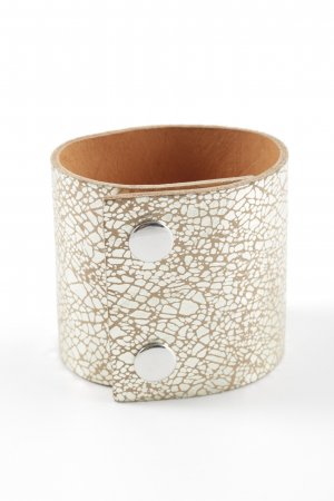 Hüftgold Leather Bracelet natural white-silver-colored allover print