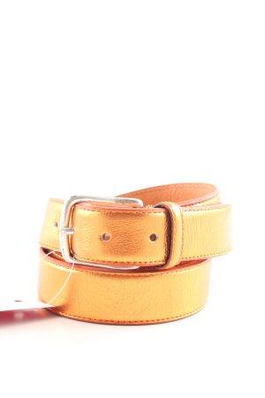 Hüftgold Cintura di pelle arancione chiaro effetto bagnato