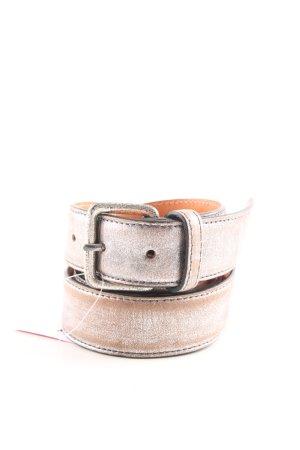 Hüftgold Cintura di pelle marrone-bianco Colore sfumato stile casual