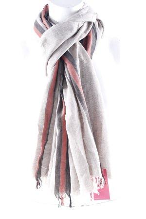Hüftgold Zomersjaal lichtgrijs-roodbruin gestreept patroon casual uitstraling