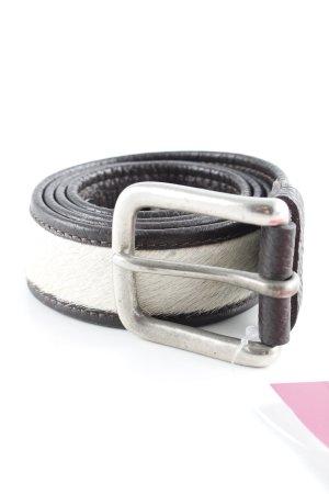Cinturón de cadera crema-marrón-negro look casual