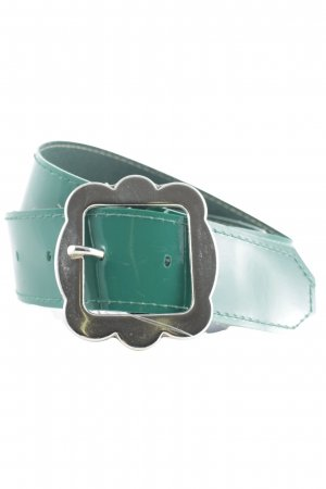 Hip Belt silver-colored-forest green leather-look