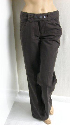 Mexx Pantalon taille basse gris brun coton