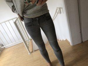 H&M Biker jeans lichtgrijs