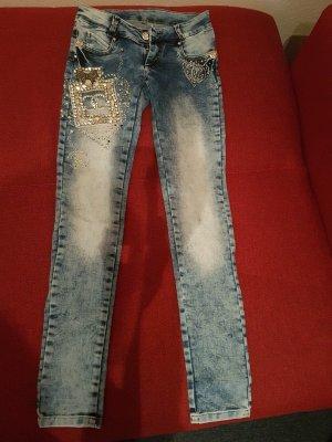 Jeans taille basse bleu-blanc tissu mixte