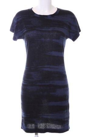 Hugo Boss A-Linien Kleid schwarz-blau abstraktes Muster Casual-Look