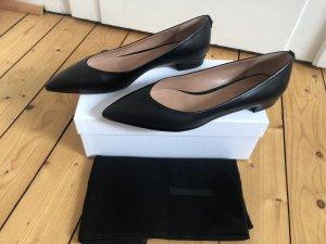 Hugo Boss Ballerinas Slipper Pumps Pointy spitz schwarz Leder