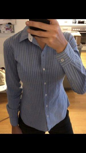 Hugo Boss Bluse Gr XS in blau/weiß