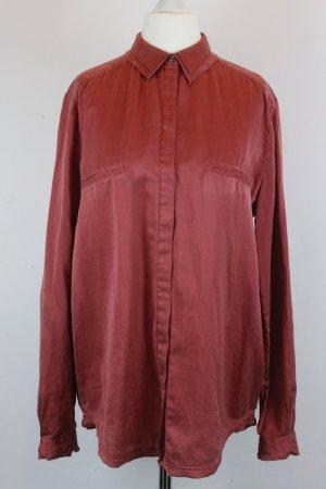 HUGO BOSS Bluse Hemdbluse Gr. 38 rot Seide (E/MF/SC)