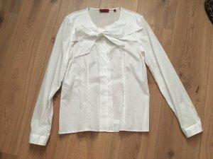 Hugo Boss Blusa collo a cravatta bianco