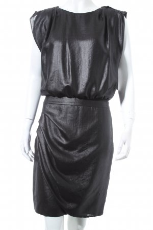 Hugo Boss Blusenkleid dunkelgrau Metallic-Optik