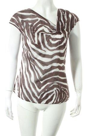 Hugo Boss Chemisier brun-blanc motif animal style transparent