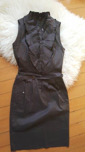 Hugo Boss Business Kleid Gr. 34 XS mit Knöpfen vorne Rüschen Kragen und Gürtel graubraun