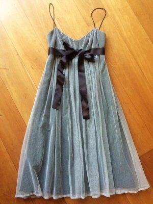 Hugo Boss Cocktail-Kleid, satin mit weichem Tüll, anthrazit und hellgrau, Gr. S
