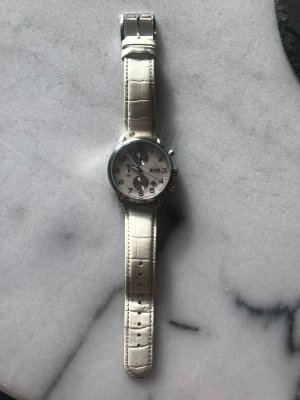 Hugo Boss Watch With Leather Strap white leather