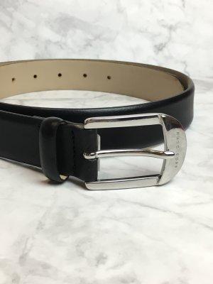 Hugo Boss Leather Belt black-silver-colored