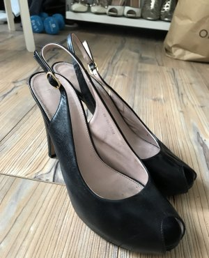 HUGO BOSS Echtleder-Peeptoe-Pumps in schwarz