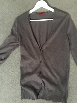 Hugo Boss graue Strickjacke, schmal geschnitten, Knopfleiste, V-Ausschnitt,