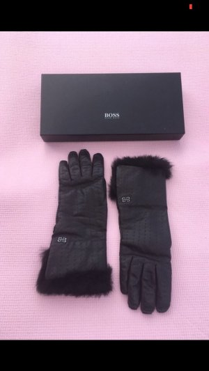 Hugo Boss Leather Gloves dark brown