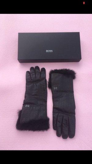 Hugo Boss Leather Gloves dark brown leather